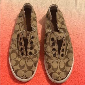 COACH Katie slip on brown logo sneakers 9 M